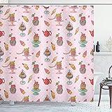 Aliyz EIS Duschvorhang Vintage Style Cupcake Teekanne Candy Cookies auf Polka Dot Vintage Küche Geeignet für Badezimmer Dusche Hotel Polyester wasserdichtes Gewebe