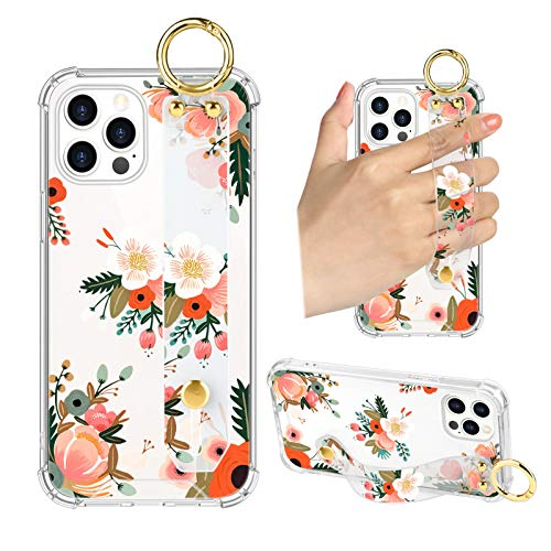 iPhone 12 Pro Max Clear Case Pink Orange Floral Wrist Strap Design Cell Phone Bumper Band Kickstand Cute Flower Pattern Protective Transparent Cover Case for Women Girls for iPhone 12 Pro Max 6.7""