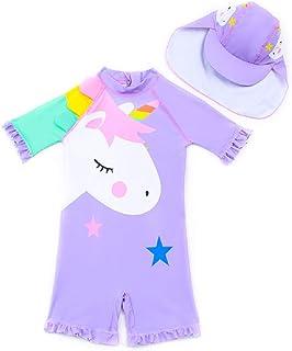 Swimsuit for Girls Cute Unicorn Design Long Sleeve with Cap (UPF 50+) blocks 99% of UV Radiation