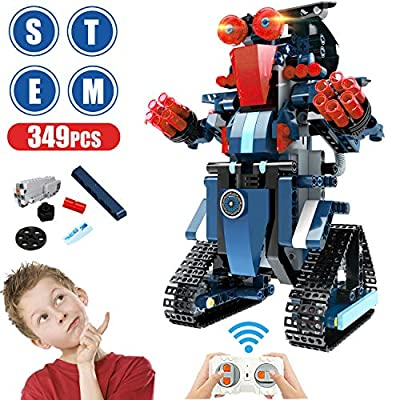 Anysun Building Blocks RC Robot, STEM Remote Control Robot Bricks Creative Toys Educational Building Kits Intelligent Rechargeable Construction Building Robot Learning Toy Gift for Boys Girls (Navy)