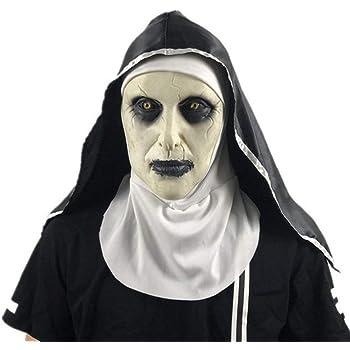 Yalatan Máscara de monja espeluznante para Halloween, disfraz de ...
