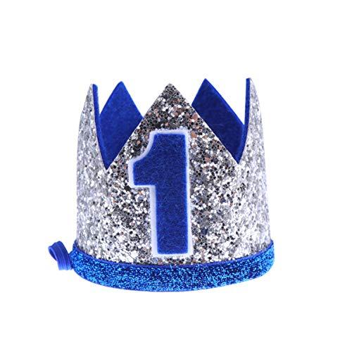 NUOBESTY geburtstag krone baby junge blume prinzessin tiara stirnband geburtstagsparty haarbänder haarschmuck für 1. geburtstag baby shower party supplies (blau)