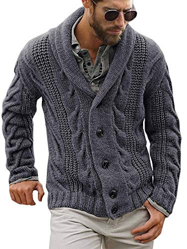 Mens Shawl Collar Cardigan Sweater Cable Knitted Winter Casual Chunky Long Sleeve Button Cardigan Grey