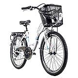 Kinderfahrrad 24'' Geroni Siro türkis-weiß mit Korb RH 40 cm KS Cycling