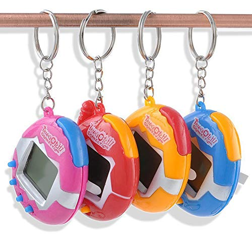 Nicebuty una confezione di PET Toys Funny retro 49Pets in una rete Virtual Pet Toy Tamagotchi Digital Pet portachiavi (2PCS 1.5V batteria a bottone) Colore casuale