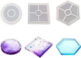 3 Pack Huture Coaster Silicone Mold with Round Square Hexagon Clear Epoxy Molds for Casting with Resin Concrete Cement and Polymer Clay Bottom Bracket Prevents Deformation Home Decoration