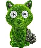 Dehner Dekofigur Solarleuchte Fuchs Foxy, ca. 21 x 17 x 14.5 cm, Polyresin/Kunststoff, grün/grau