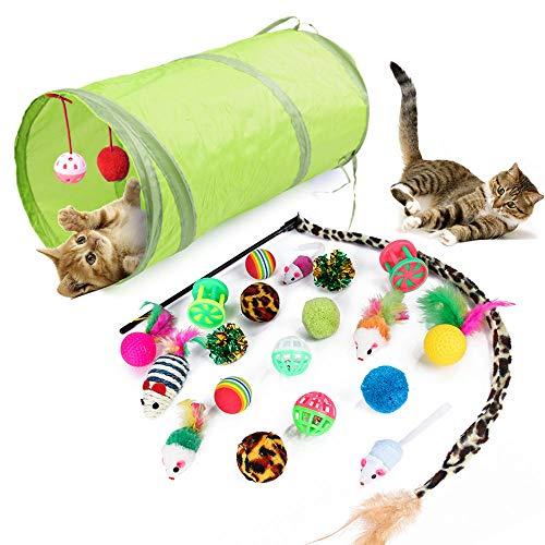 Katzenspielzeug Set mit Katzentunnel, 21 Stück Katzenspielzeug Set mit Bälle Federspielzeug, Kätzchen Maus Spielzeug Set, Katze Toys Variety Pack