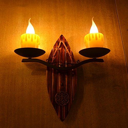 GKJ Applique Murale, Américain Applique Murale Double Bougie Lumière Cafe Aisle Salon De Thé Living Room Bamboo Wall Lamp