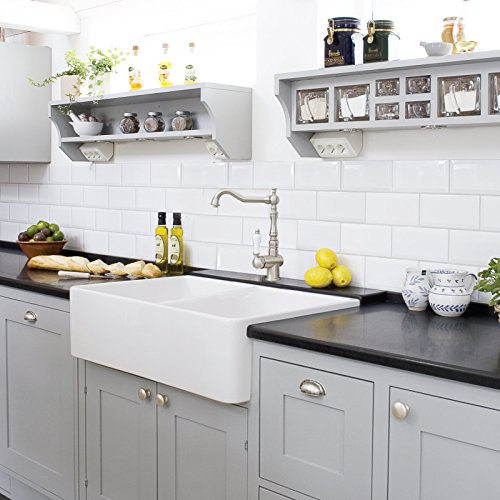 Barkano 33' Double Bowl White Farmhouse Kitchen Sink, Apron Front, TRUE FIRECLAY, TRIPLE GLAZED