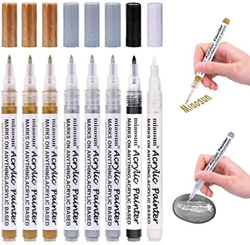 Acrylic Paint Pens 8 Pack 0 7mm Gold and Silver Metallic Permanent Markers for Wood Glass Metal product image