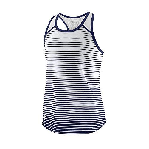 Wilson Mädchen Tennis-Tank Top, G Team Striped Tank, Polyester, Blau/Weiß, Größe: S, WRA769803