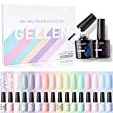 Gellen 16 Colors Gel Nail Polish Kit, With Top Base Coat - Fresh Macaron Girly Colors Collection, Popular Bright Nail Art Solid Sparkle Glitters Colors Home Gel Manicure Set