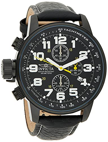 Invicta Men's I-Force Black Stainless Steel Quartz Watch with Black Leather Strap, Black (Model: 3330)