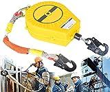 Dispositivo Retractil Anticaidas con Cuerda de Alambre y Gancho, Doble Capa de Protección, MAX -...