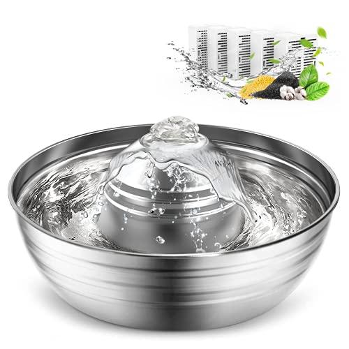 Cat Water Fountain Stainless Steel,oneisall Multi-Pet Water Fountain,360°Dog Water Fountain with...