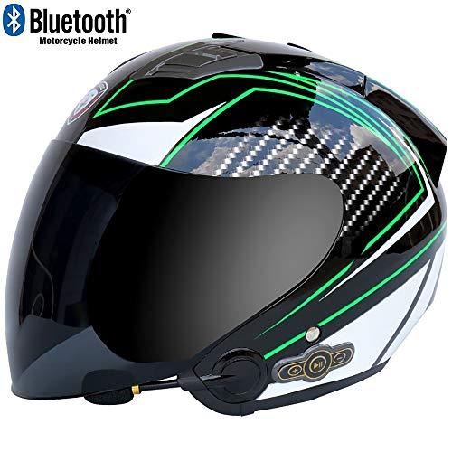 MTTKTTBD Bluetooth Casco Moto Abierto,3//4 Casco Moto con Visera para Mujer y Hombre,Adultos Casco Moto Jet para Mofa Piloto Crash Cruiser Chopper Scooter Biker Racing,ECE Homologado