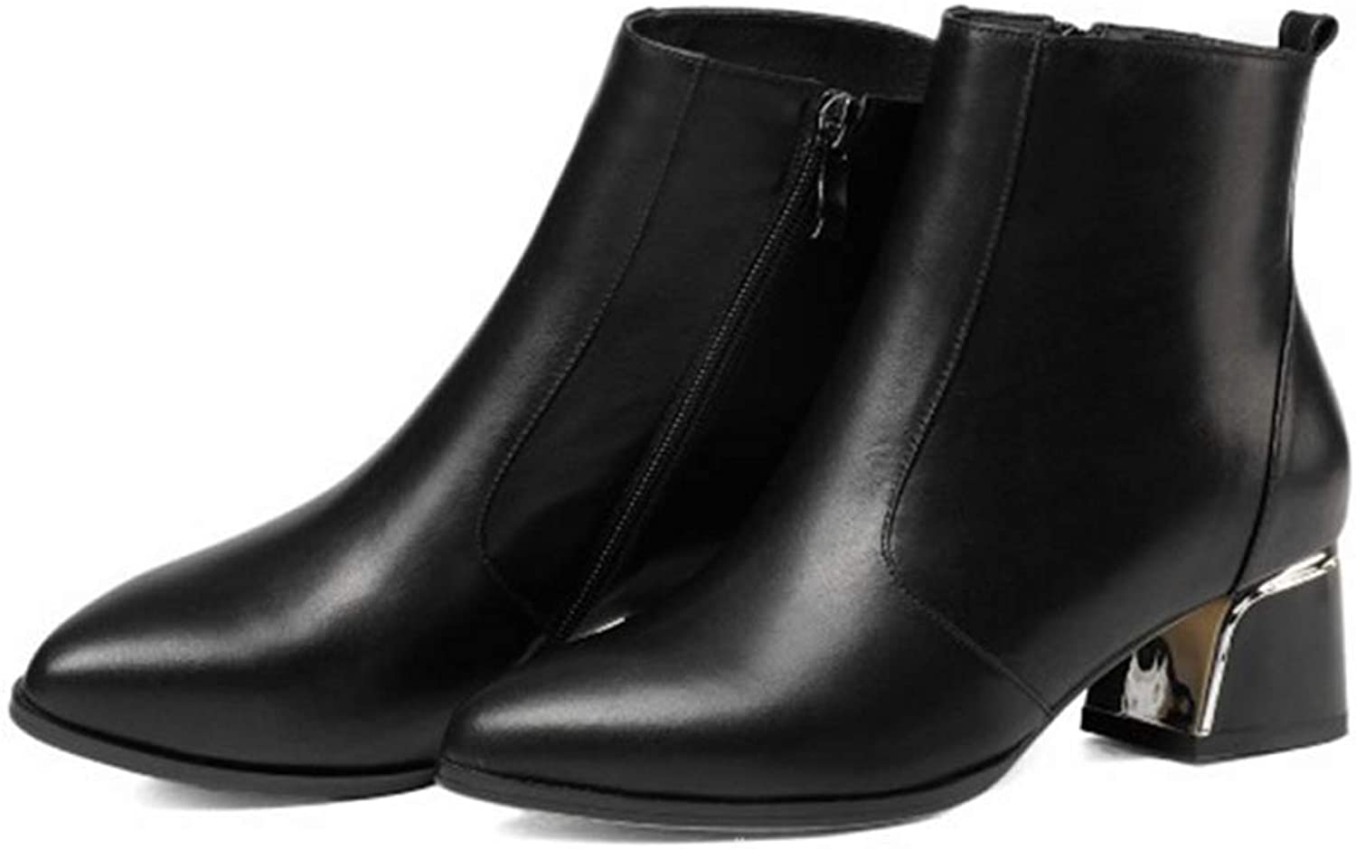 Women's Booties, Comfortable Mid Heel Thick Heel Martin Boots Ladies Pointed Low Heel Dark Green Leather Non- Slip Fashion Boots (color   B, Size   38)