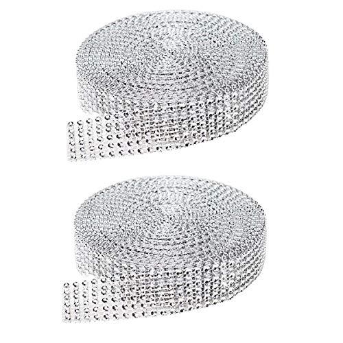 Cinta de diamantes de imitación de 2 rollas, 6 filas de 10 yardas de diamante brillante cinta de malla decoración DIY