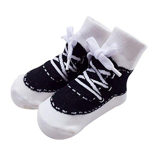 Sanlutoz Baby Socken Jungen Baumwolle Söckchen mit Muster Kindersocken im Turnschuh-Look 0-6 12Monate (0-12 Monate, SOCKA014-BK)