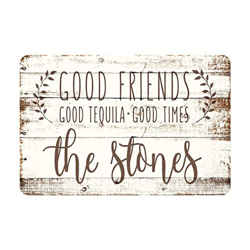 Yilooom Personalized Good Friends, Good Tequila, Good Times Rustic Wood Look Metal Sign - Custom Sign - Welcome Sign - Custom Door Signs