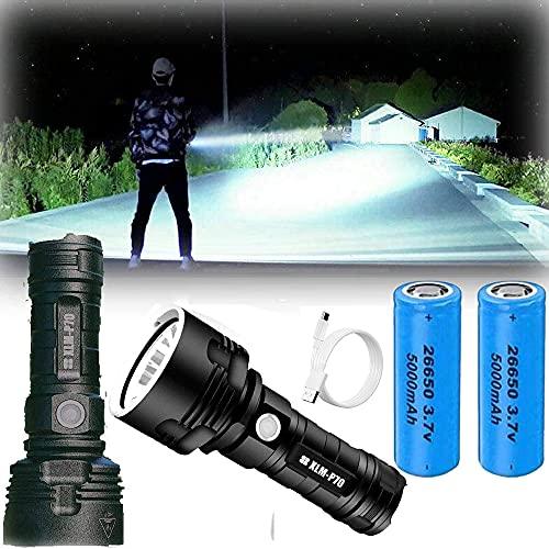 XLM P70 LED Linterna - 30000-100000 lúmenes de alta potencia, 3 modos Super brillante linterna impermeable, USB Rechargeable Flashlight Torch for Camping, Hogar, Emergencia (50W XLM-P70,Bateria doble)