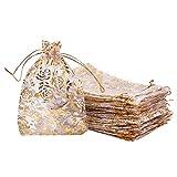 PandaHall Elite 50 bolsas de organza con diseño de rosas doradas de 18 x 13 cm,...