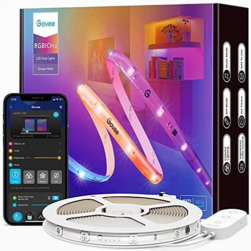 Govee RGBIC Pro LED Strip 10m, Smart LED Strip funktioniert mit Alexa und Google Assistant, beschichtes Lichtband Sync mit Musik, App-Steuerung, Farbwechsel, geeignet für Zuhause Schlafzimmer Gaming