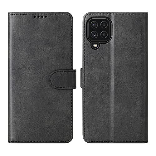 Cresee Kompatibel mit Samsung Galaxy A22 4G Hülle, PU Leder Handyhülle mit 3 Kartenfächer, Schutzhülle Hülle Tasche Magnetverschluss Flip Cover Stoßfest Klapphülle für Galaxy A22 4G, Schwarz