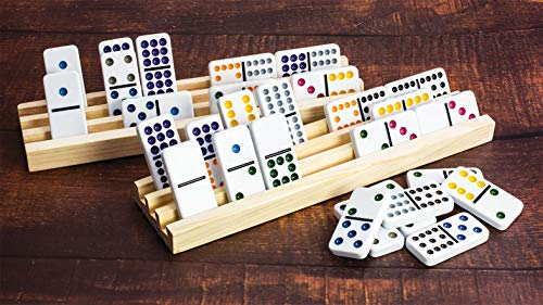 KOVOT Dominoes & Racks Set | Includes (91) Tile Dominoes + (4) Wooden Domino Racks