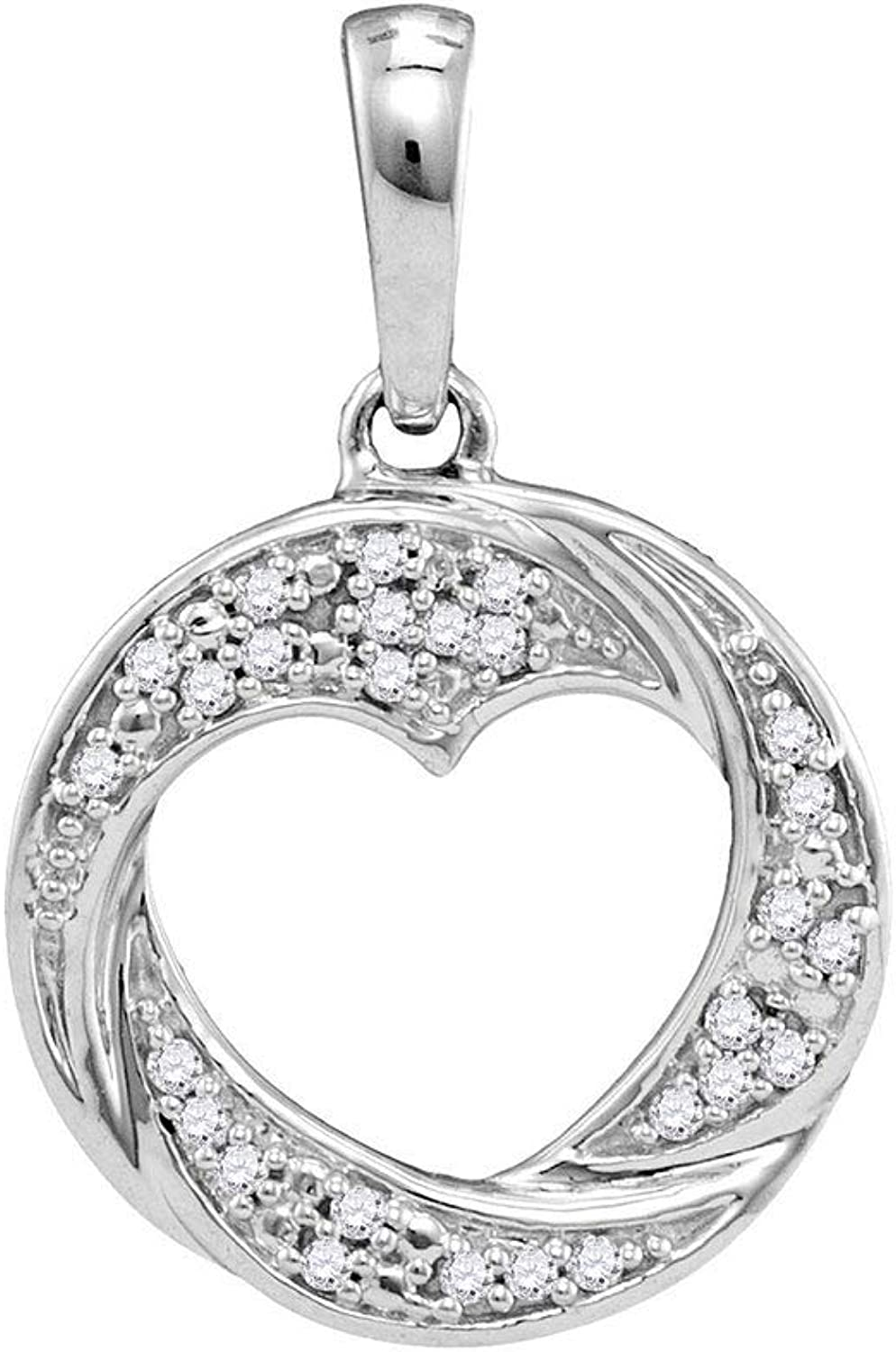10kt White gold Womens Round Diamond Circle Heart Cutout Pendant 1 12 Cttw