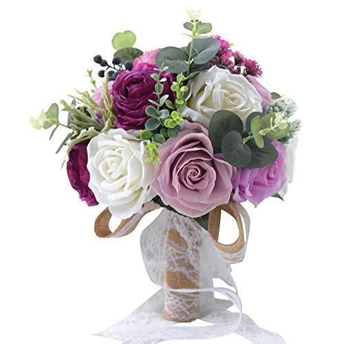 HERAHQ Composizioni Floreali Artificiale per casa Fiore Artificiale Bouquet da Sposa, con 5 Stili e Panno di Seta Fatto a Mano, per la Decorazione Domestica Wedding Church,Viola