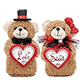 Teddy Bears Couple Handmade Gift for Valentine Anniversary Wedding Birthday Bride Groom Boyfriend Girlfriend Relationship Lovers Romantic with Gift Bag