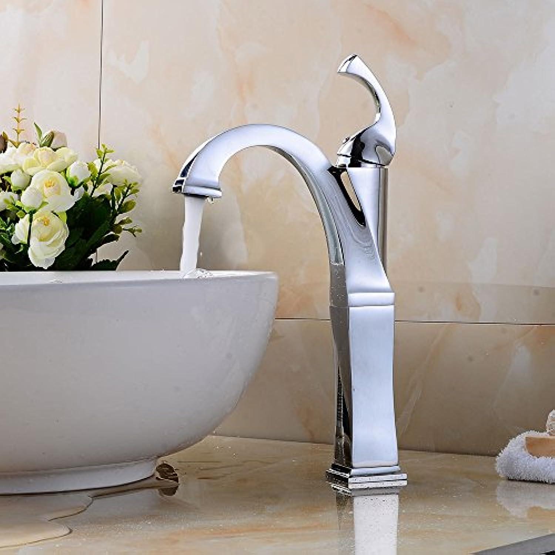 Bijjaladeva Wasserhahn Bad Wasserfall Mischbatterie Waschbecken Waschtisch Armatur für Badezimmer Becken wassergekühlten Kühlkrper Armaturen verchromt Einloch, einseitiger Griff