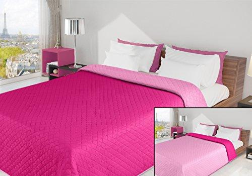 DecoKing 220x240 Amaranth - rosa Tagesdecke Bettüberwurf zweiseitig leicht zu pflegen Alex
