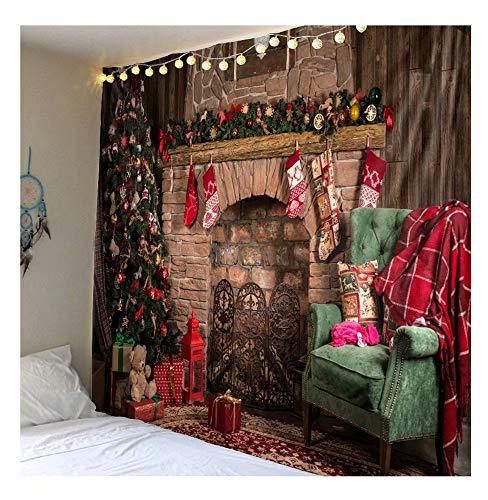 Cosleeply Weihnachten Tapisserie, Frohe Weihnachten Baum Backstein Kamin Strümpfe Wandbehänge Tapisserien für Schlafzimmer Wohnzimmer Wohnheim, Wohnzimmer Schlafzimmer Dekor