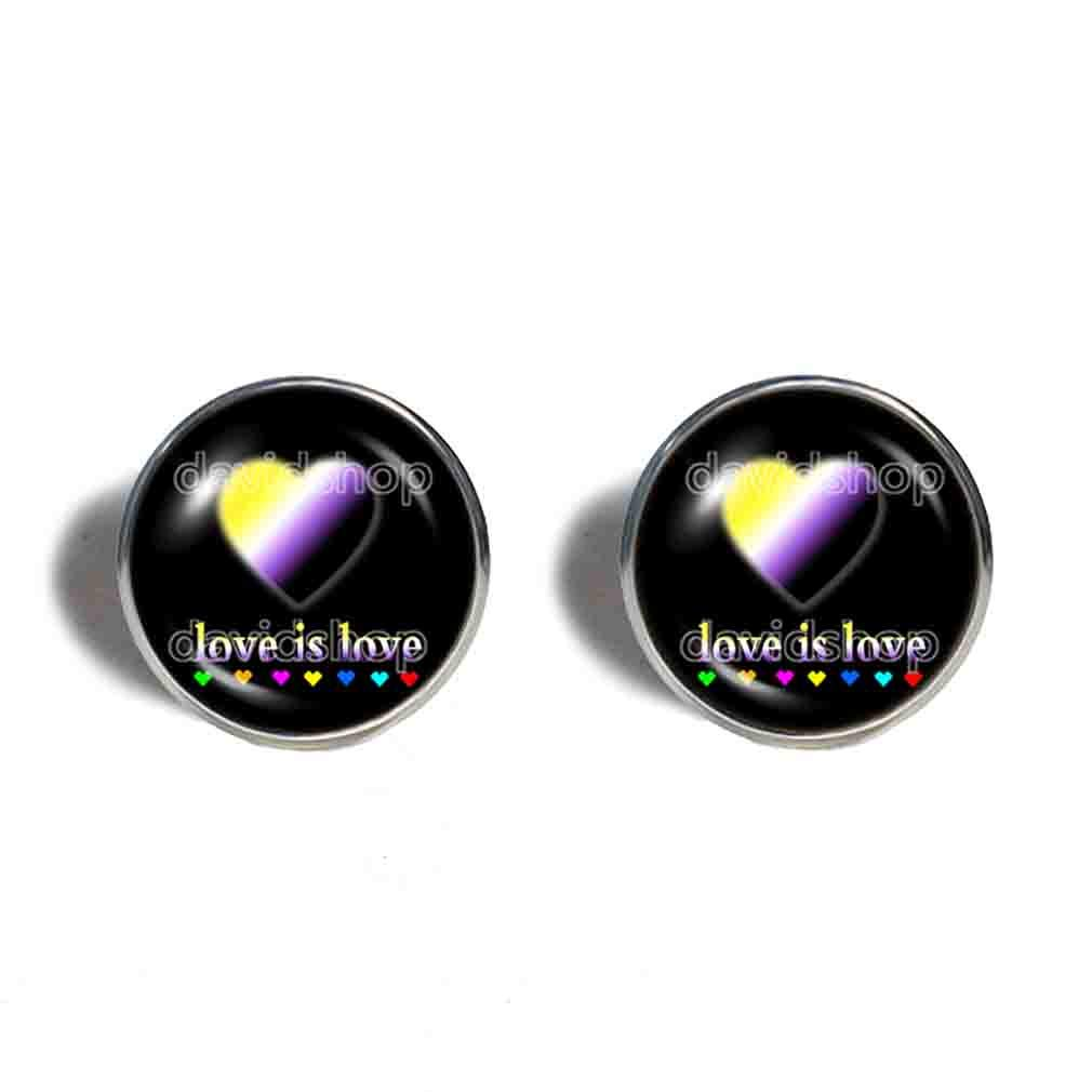 Love Is Max 53% OFF Non Binary Pride Jewel links Our shop most popular Cufflinks Fashion Cuff
