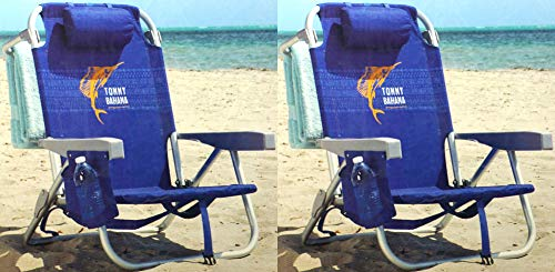 Tommy Bahama 2 Pack Backpack Beach Chair Blue with Sailfish...