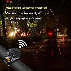 ITB MALL - Luz Trasera Bici - Luces Trasera Bicicleta Intermitentes con Indicator Direccionales, Inteligente Luz Freno Led Bici Mando a Distancia Inalàmbrico