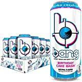 Bang Birthday Cake Energy Drink, 0 Calories, Sugar Free with Super Creatine, 16oz, 12 Count