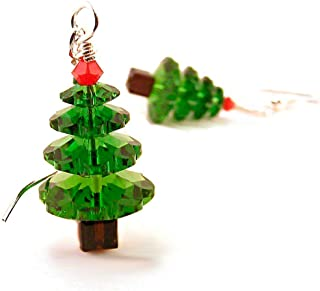 Christmas Tree Earrings made with Crystals from Swarovski and Sterling Silver Ear Wires