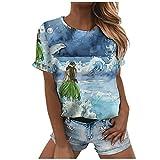 Camiseta de mujer de manga corta para verano, parte superior 3D, diseño de gato, informal, cuello redondo, básico, suéter para adolescentes 3 – azul claro. L