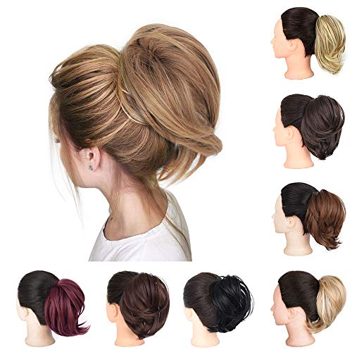 AISI BEAUTY Messy Bun Hair Piece for Women Synthetic Hair Ponytail Scrunchies Straight Elastic Updo Scrunchy Bun Hair Extension (Brown Mix Natural Blonde)