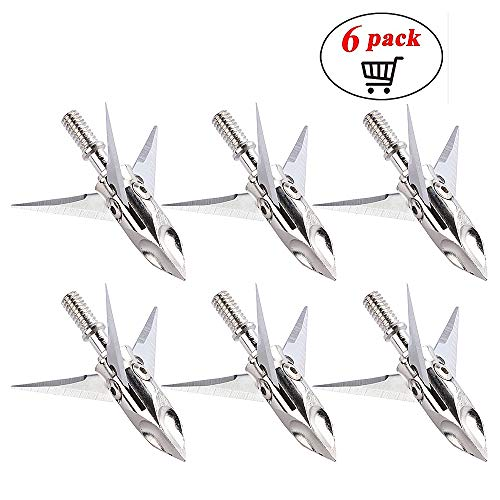 ZCISSY Crossbow Broadheads 100 Grain - Rotating,Stainless Steel,3 Blade. (6 Pack)