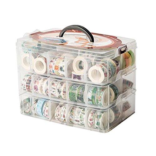 Stockage d'organisateur de boîte de bande de Washi, récipient de compartiment de diviseur, avec 30 compartiments réglables, clair, masquage le ruban de bureau autocollant de support