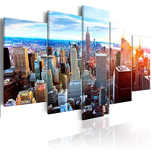 decomonkey Bilder New York 200x100 cm 5 Teilig Leinwandbilder Bild auf Leinwand Wandbild Kunstdruck Wanddeko Wand Wohnzimmer Wanddekoration Deko Panorama Skyline Stadt