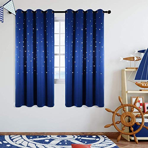 Anjee Blackout Star Curtains for Kids Room 2 Panels Cutout Stars Romantic Starry Sky Space Theme Printed Windows Curtains 63 inches Length, Royal Blue