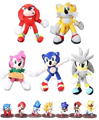Figura Sonic y felpa 12 unids/lote nuevo divertido juguete de peluche sonic Amy Rose Sonic-Shadow-Silver The Echidna Soft Stuffed Animals Doll