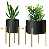 Plant Stand, Metal Plant Stands for Indoor Plants Adjustable for 8 9 10 11 12 inches Pot, Planter Stand Mid Century Stable Stylish Corner Plant Stand for Outdoor, Gold 1Pack, Pot not Included