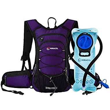 MIRACOL Hydration Backpack with 2L Water Bladder - Thermal Insulation Pack Keeps Liquid Cool up to 4 Hours – Multiple Storage Compartment – Bladder with Insulated Flow Tube, Purple